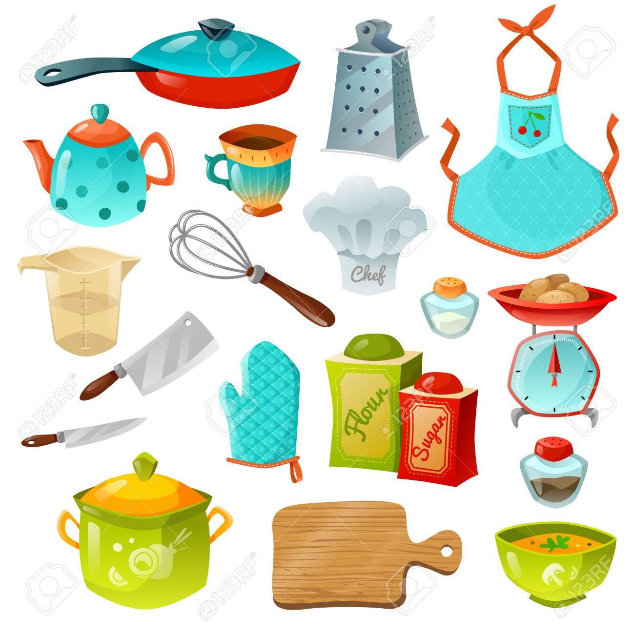 Cocinar Iconos Decorativos Conjunto De Utensilios De Cocina Con Olla