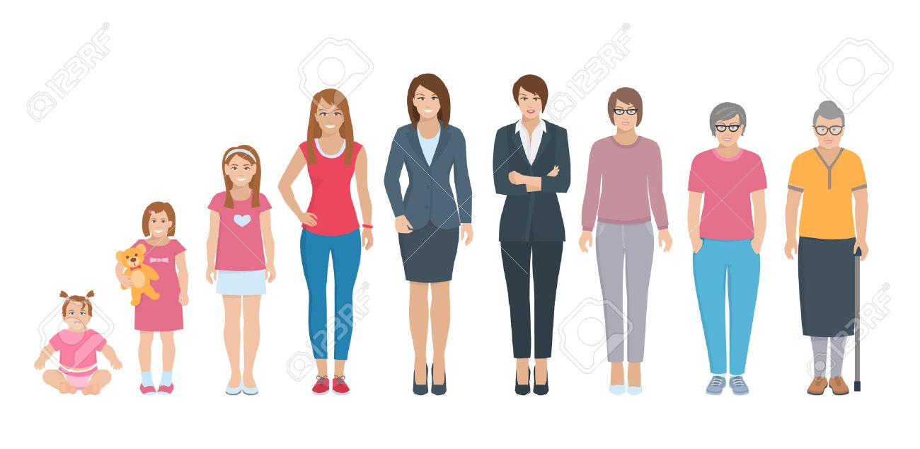 Different generations full length silhouette european women isolated set vector illustration Stock Vector - 56340424