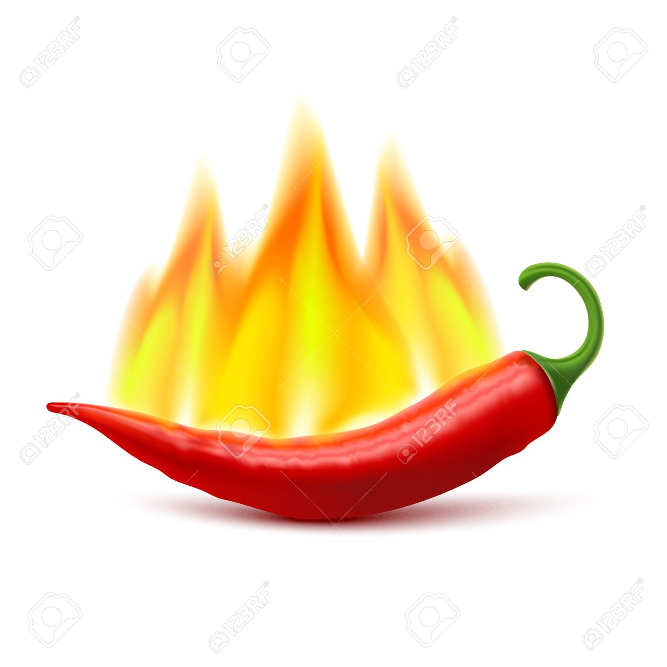 Flaming Red Chili Pepper Pod Image As Symbol Of Spicy World Hottest