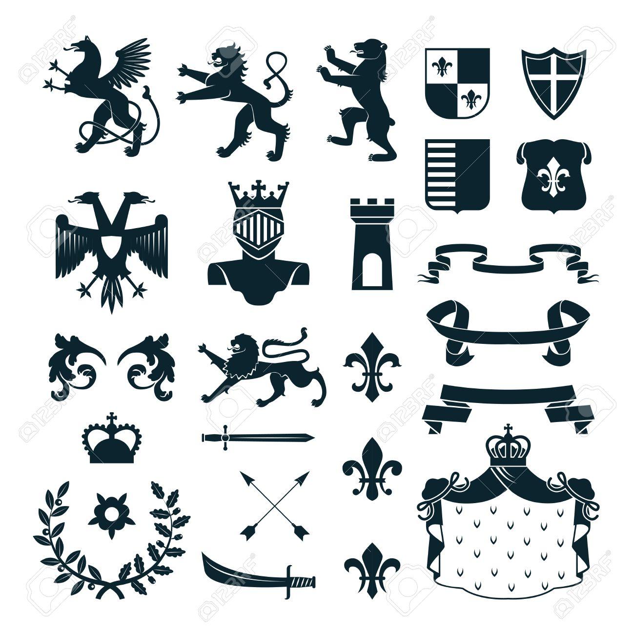 Heraldic Royal Symbols Emblems Design And Family Coat Of Arms