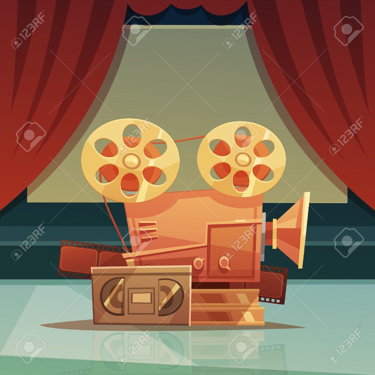 Vettoriale sfondo cinema retrò cartone animato con la tenda rossa