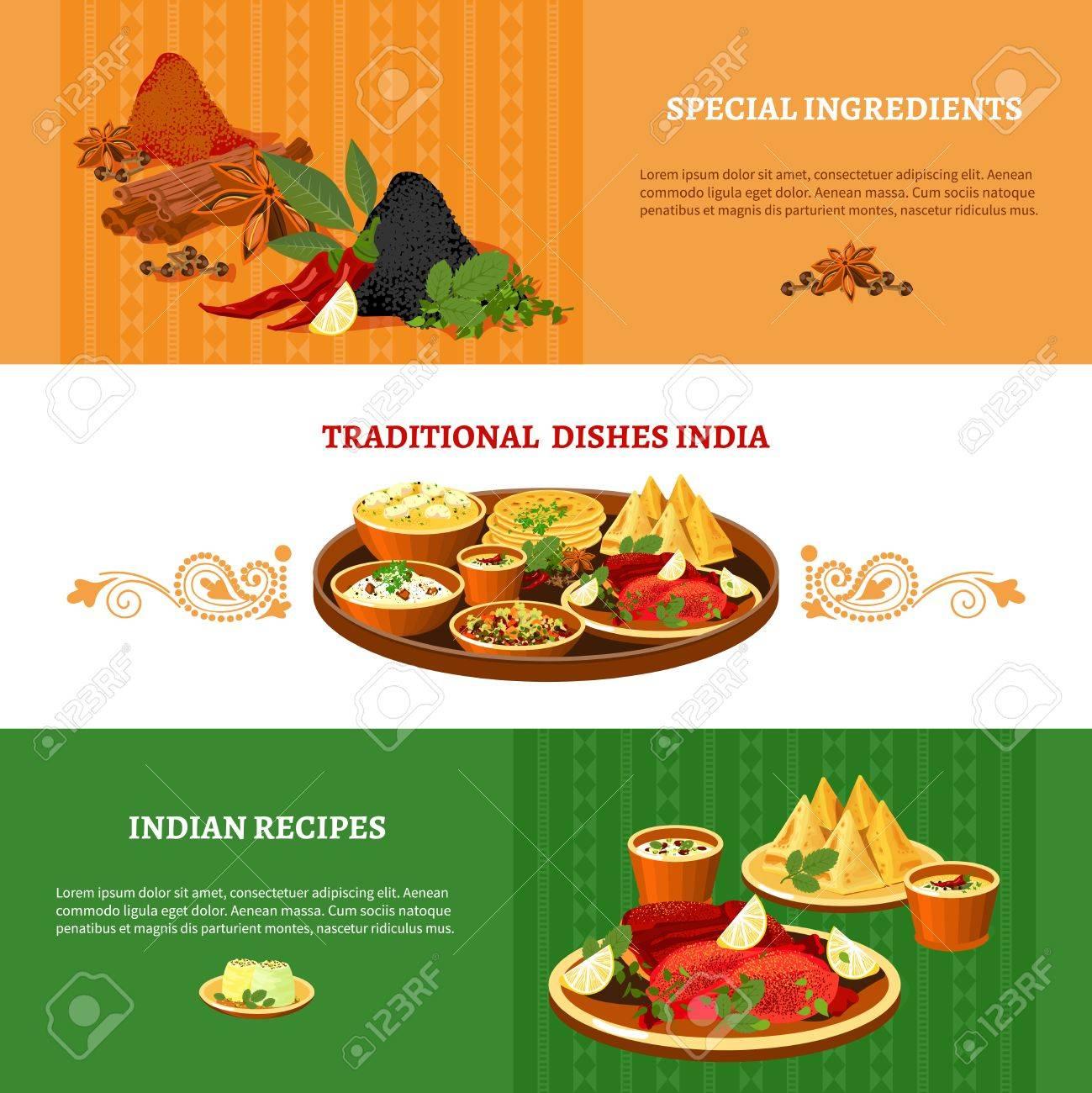 Indische Küche 3 Flach Banner Mit Traditionellen Gerichten Mit ...