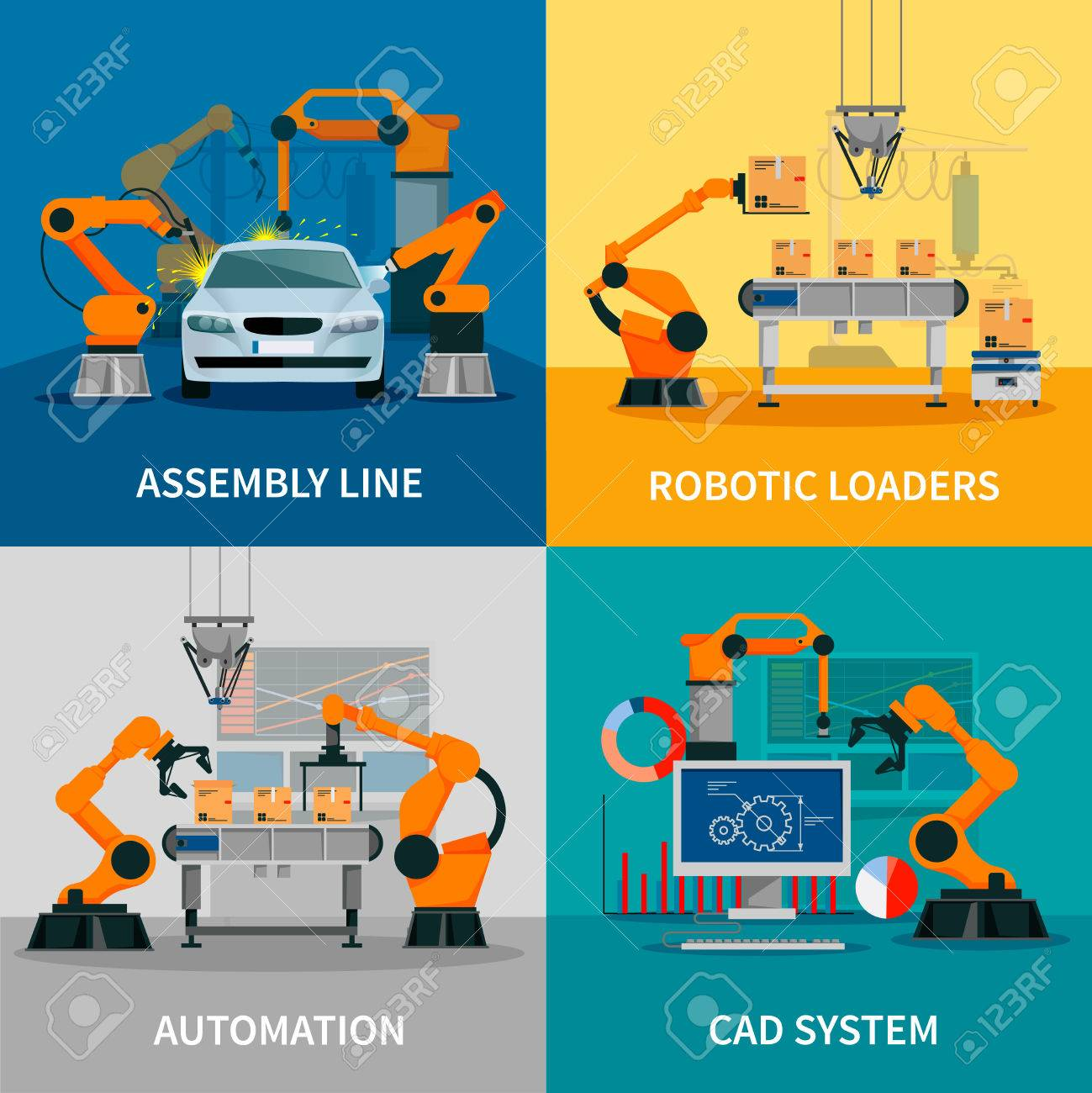 Automation concept icons set with assembly line and CAD system symbols flat isolated vector illustration - 56988115