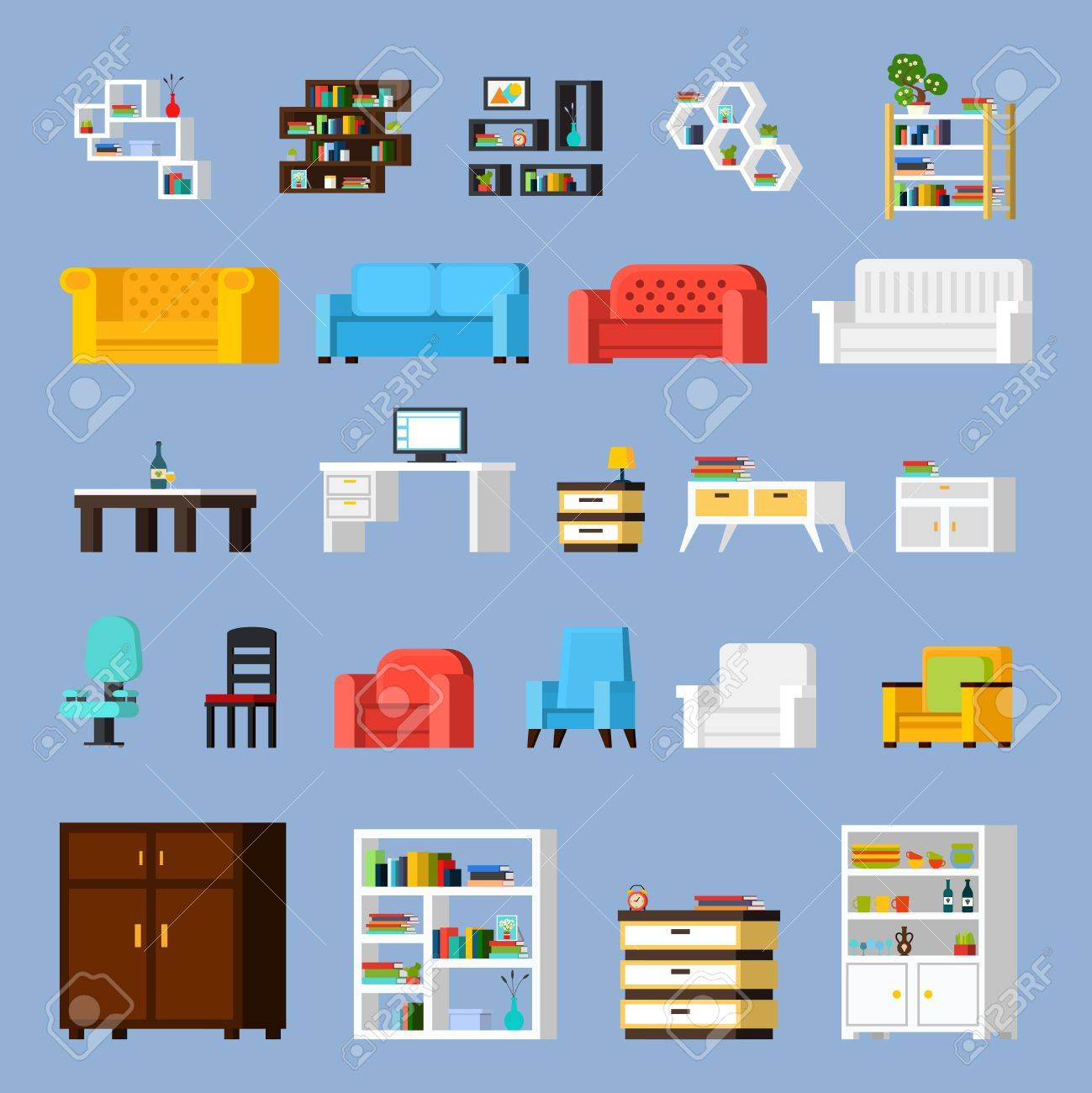 Icon set of different furniture elements for living room cabinet or hall orthogonal isolated vector illustration - 56988911