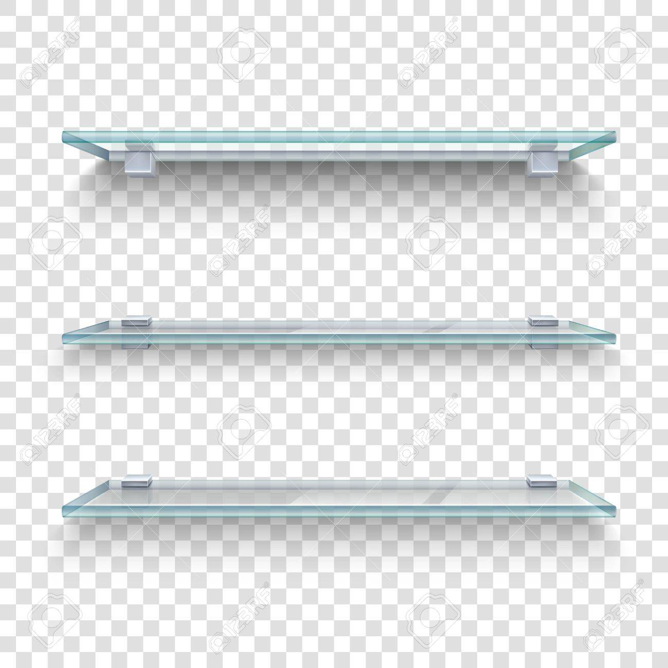 Three alike glass shelves on transparent grey and white plaid background realistic vector illustration - 56988930
