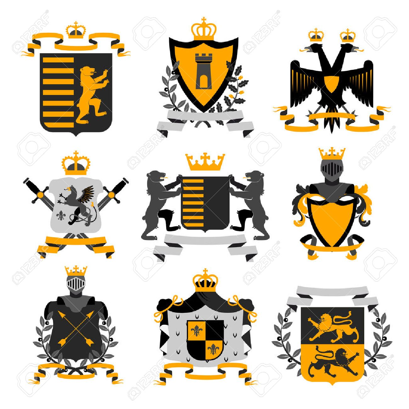 Heraldic coat of arms family crest and shields emblems golden heraldic coat of arms family crest and shields emblems golden black icons collection abstract isolated vector buycottarizona