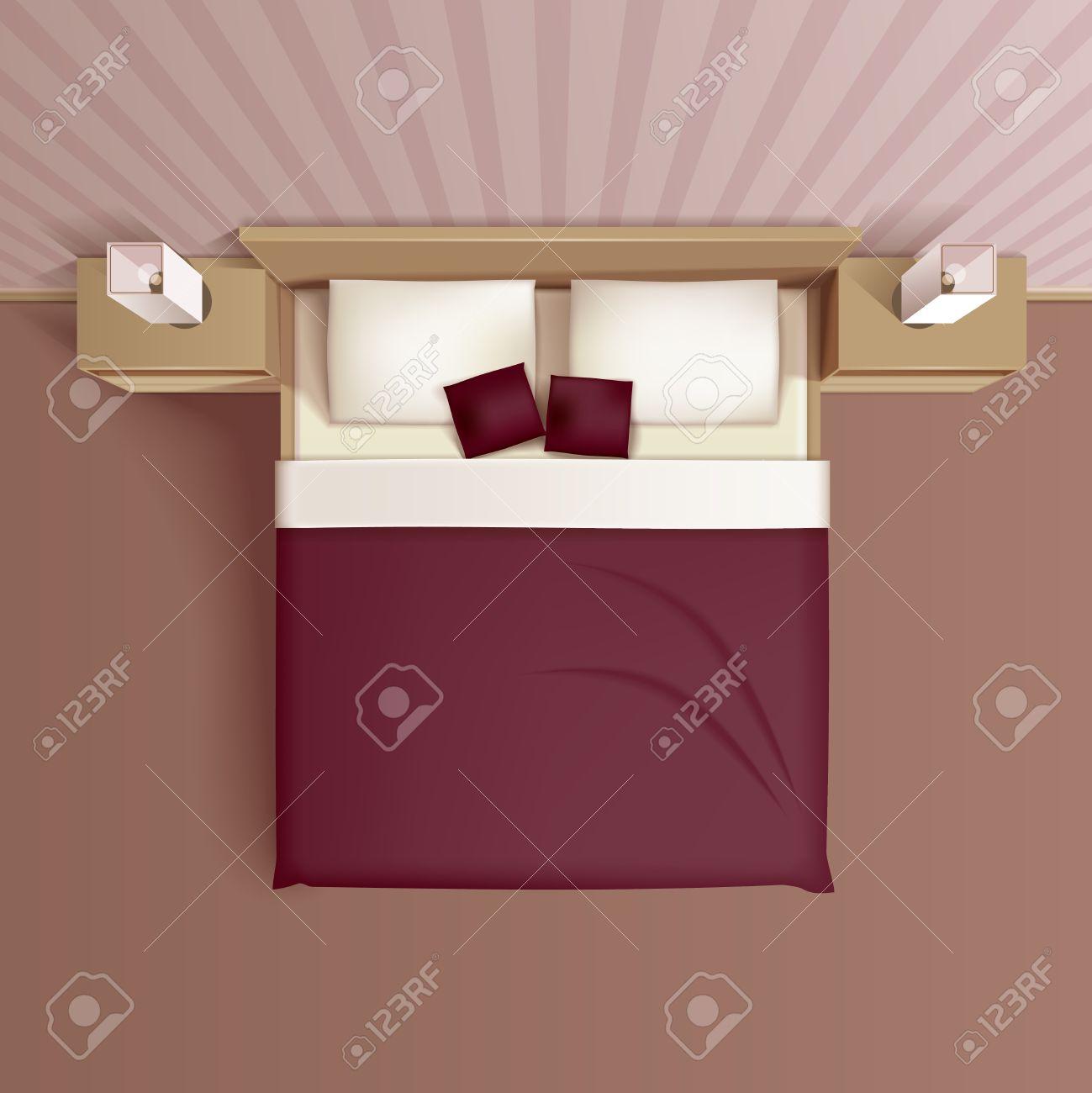 Chambre familiale classique design d\'intérieur avec un lit confortable  coussins de tête de lit et chevets vue de dessus réaliste illustration ...
