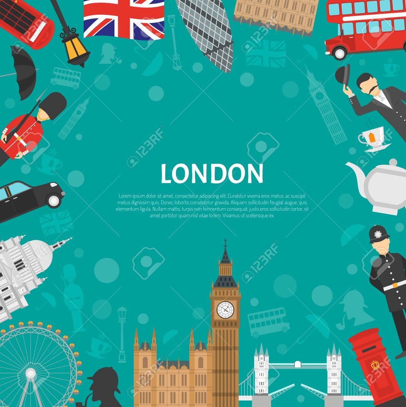 London Stadt Wahrzeichen Und Kulturelle Symbole Dekorative Grenze ...