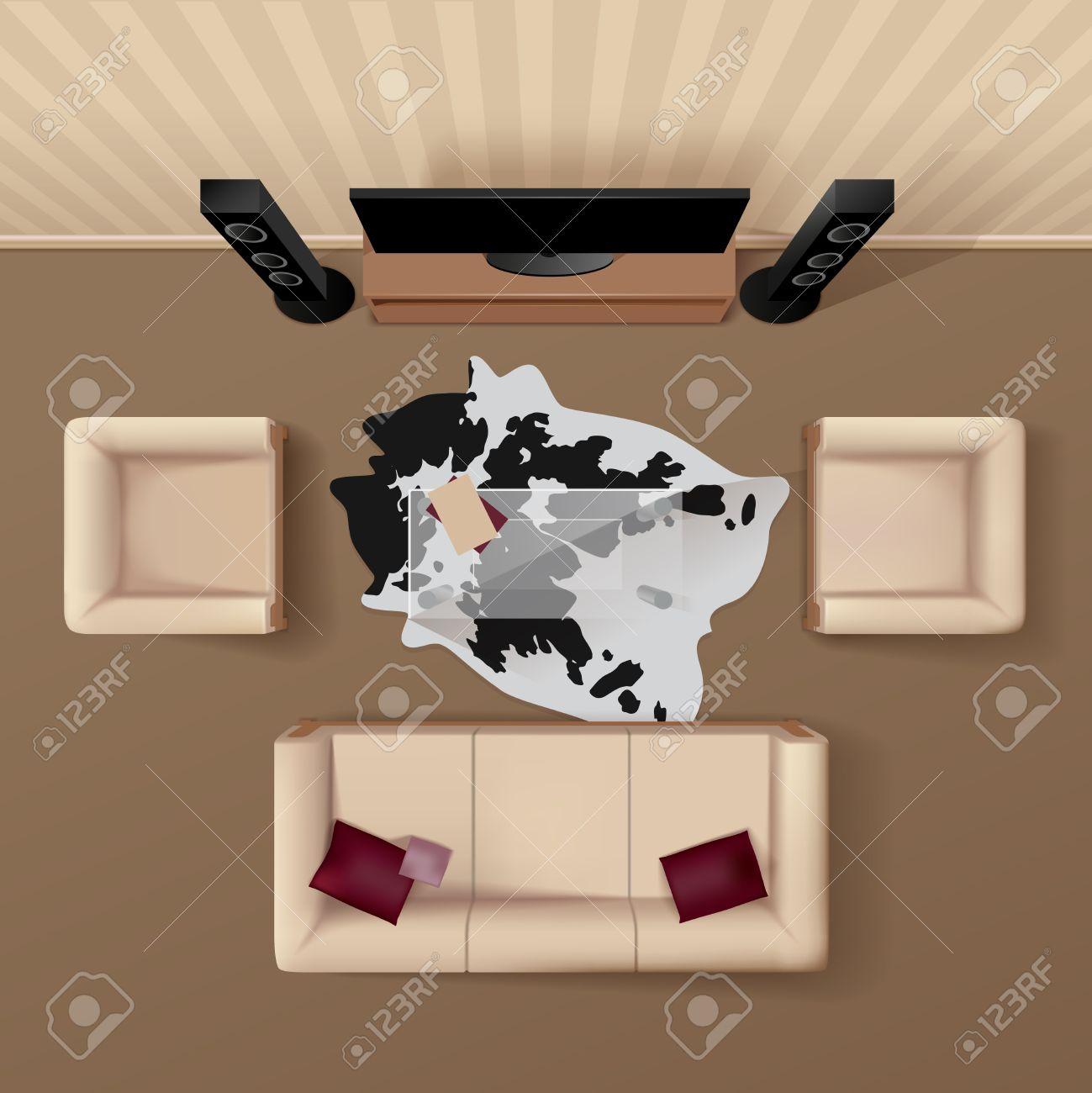 Woonkamer met koeienhuid kleed onder de glazen tafel coach en ...