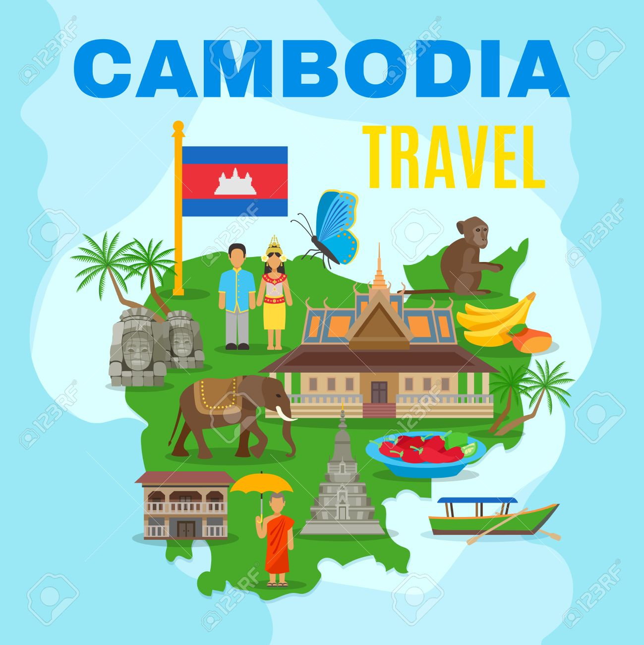 Cambodian culture and national symbols with country map and flag cambodian culture and national symbols with country map and flag for travelers flat poster abstract vector biocorpaavc Image collections