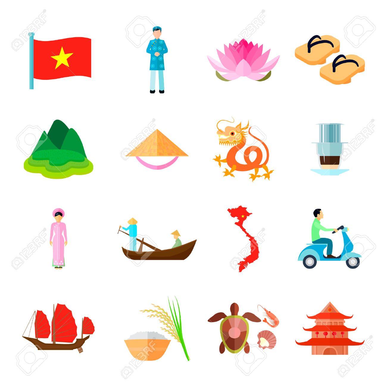 Populaire Vietnam Icons Set. Vietnam Voyage Vector Illustration. Symboles  BA42
