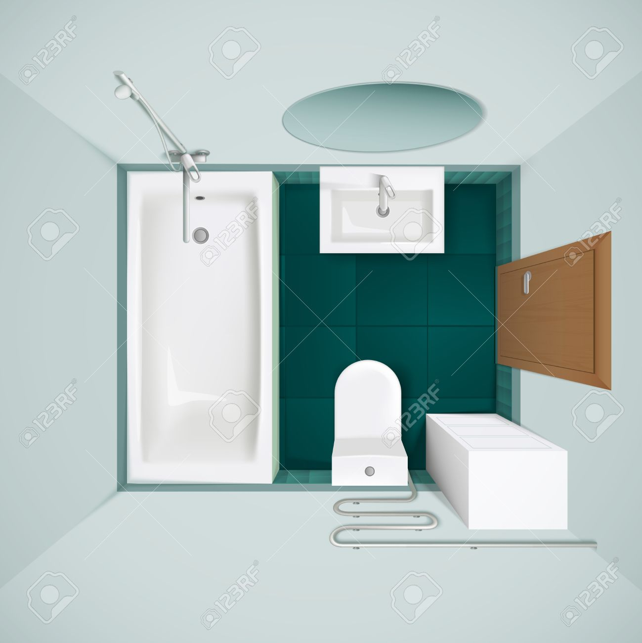 Little bathroom with green floor tiles bathtub toilet bowl and little bathroom with green floor tiles bathtub toilet bowl and sink realistic top view image vector dailygadgetfo Images