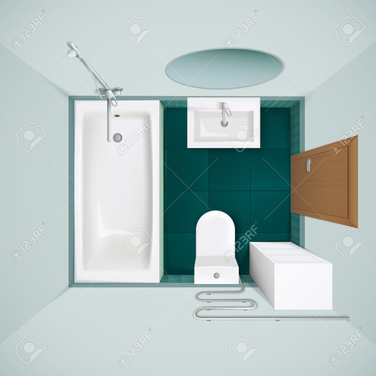 Petite salle de bain avec bol tuiles vertes de sol baignoire WC et lavabo  réaliste vue de dessus l\'image illustration vectorielle