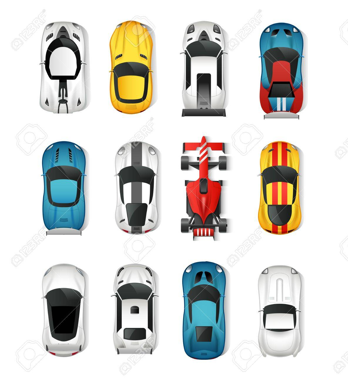 Sport Cars Top View Icons Set Racing Cars Isolated Vector Illustration