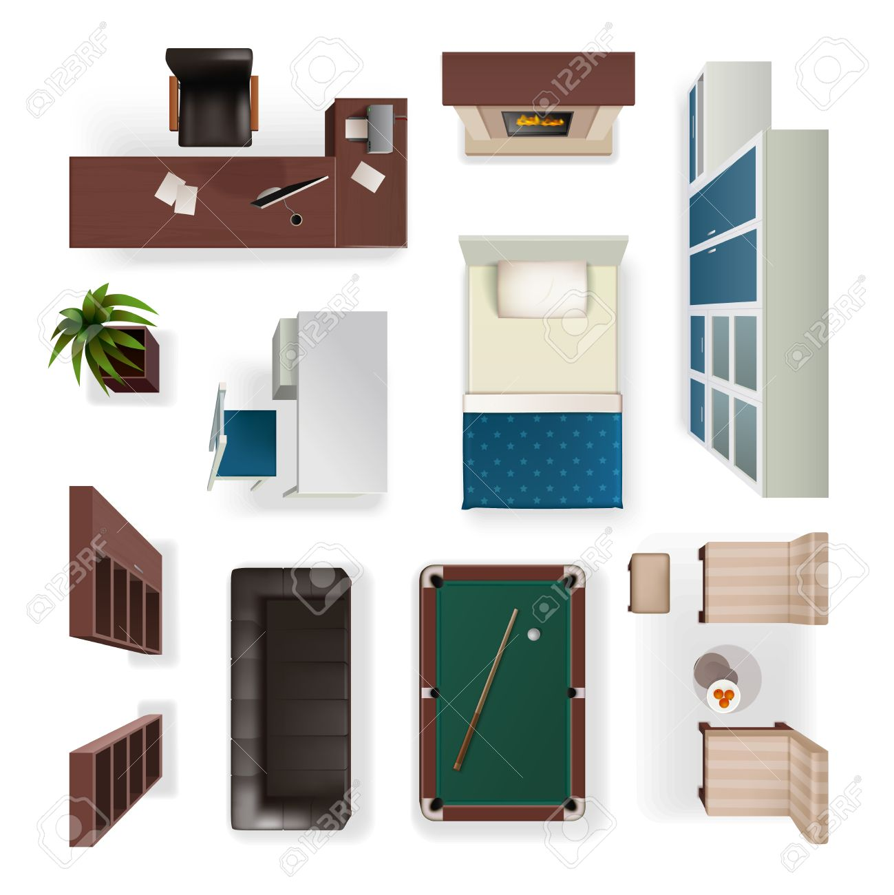 Office furniture top view - Modern Interior Furniture For Office Living And Bedroom Isolated Realistic Objects Set Top View Isolated Vector