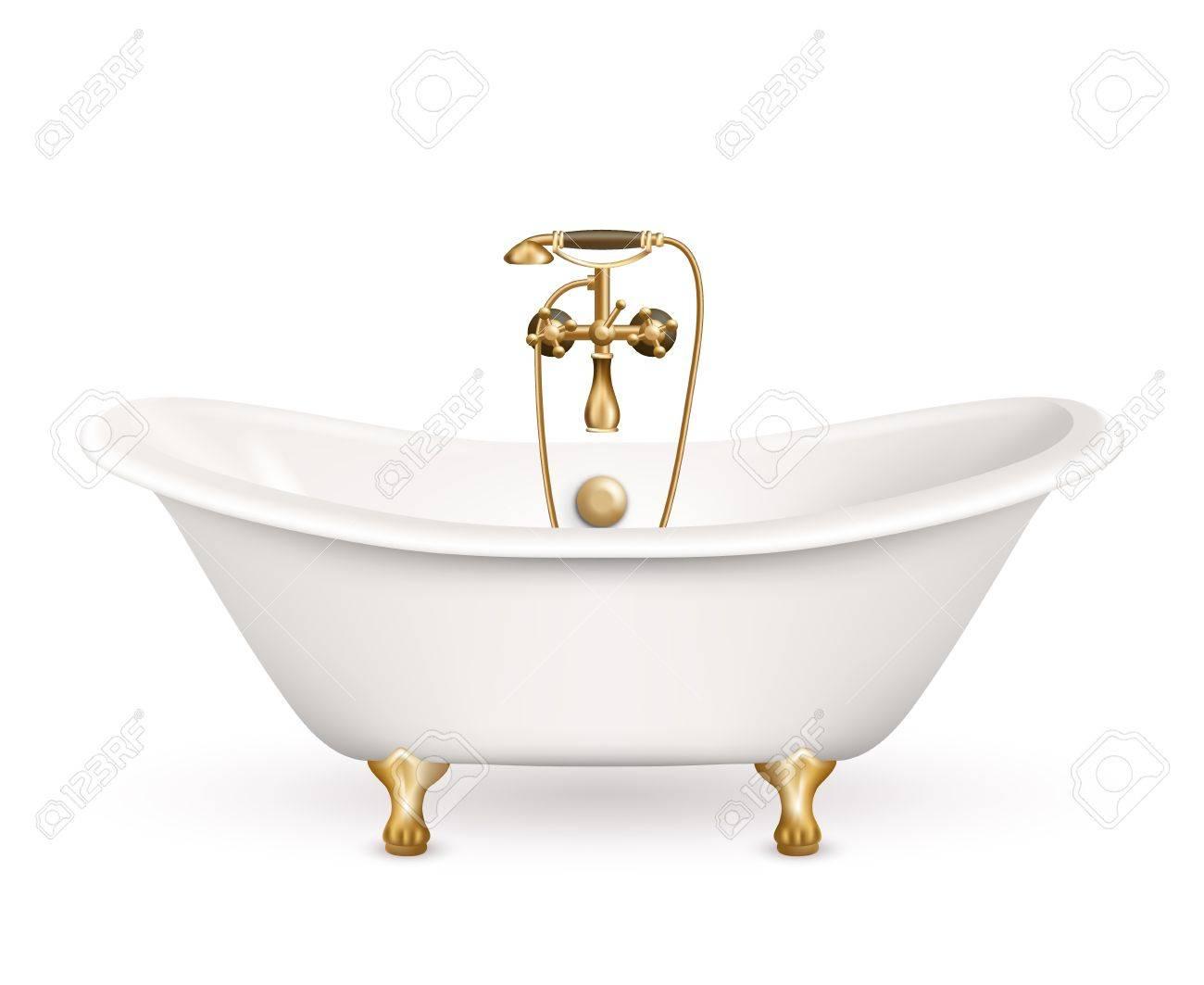Realistische Retro Badewanne Symbol Weiß Mit Goldenen Armen Und