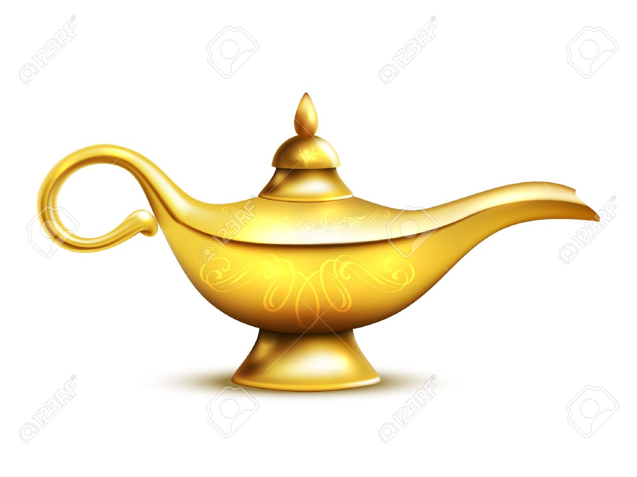 Aladdin Yellow Iron Lamp Isolated Icon With Shadow And Ornaments ... for Aladdin Lamp Clipart  67qdu