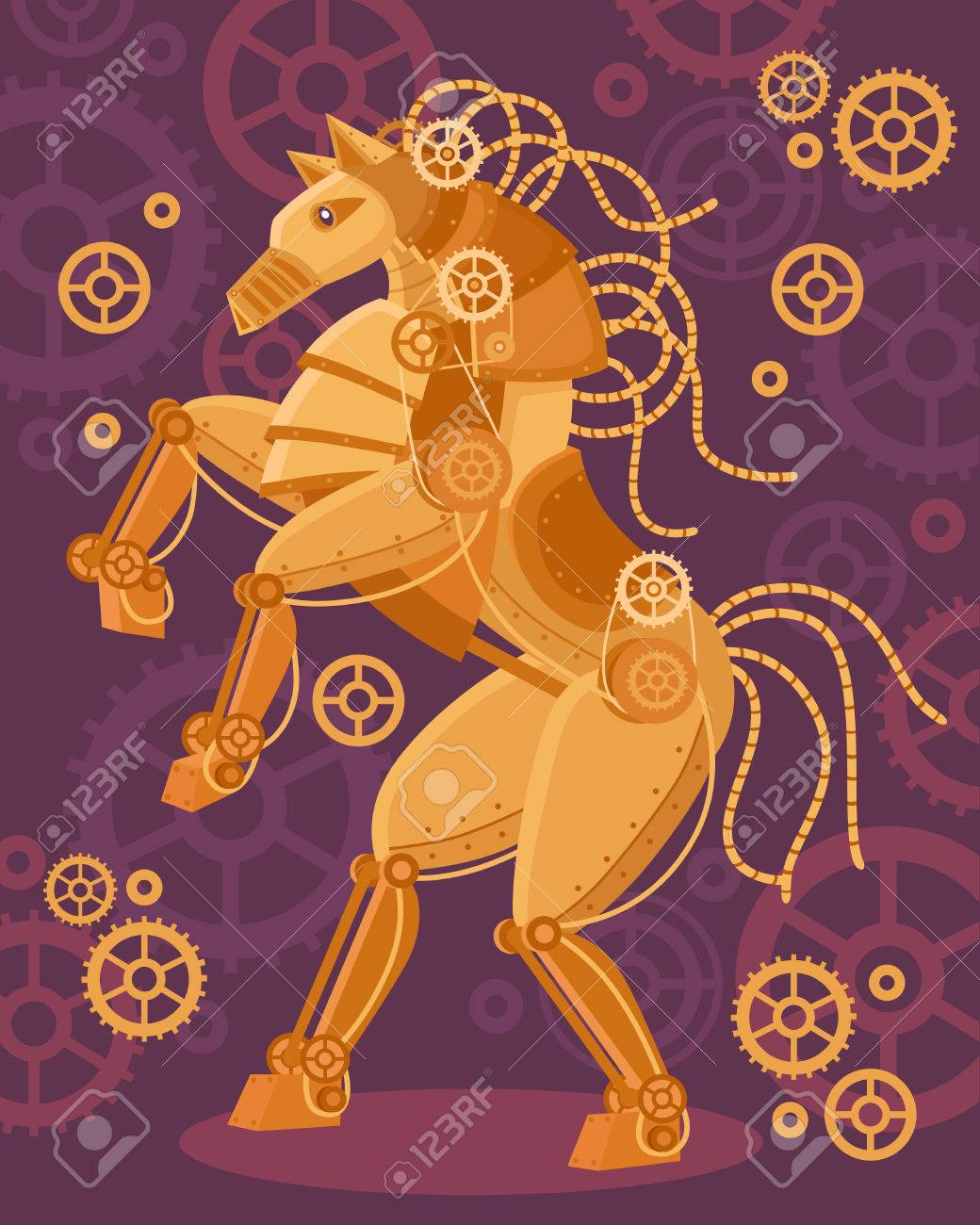 Steampunk Art Golden Horse Poster Mechanical Figurine And Mechanisms Royalty Free Cliparts Vectors And Stock Illustration Image 57186981