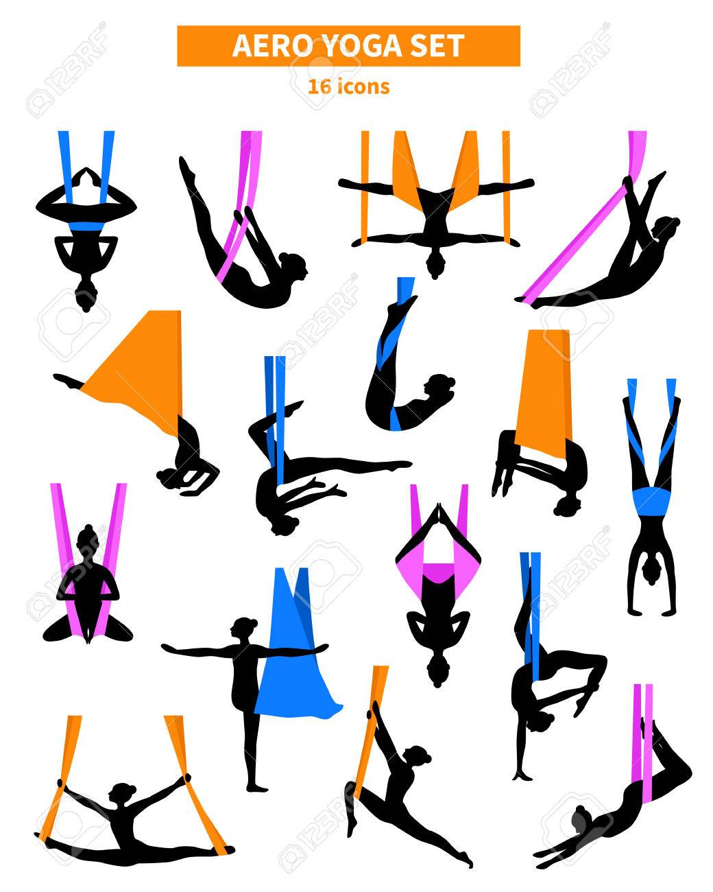Aero Yoga Black White Isolated Icon Set With Silhouettes Of Women Training In Colored Fabrics Vector