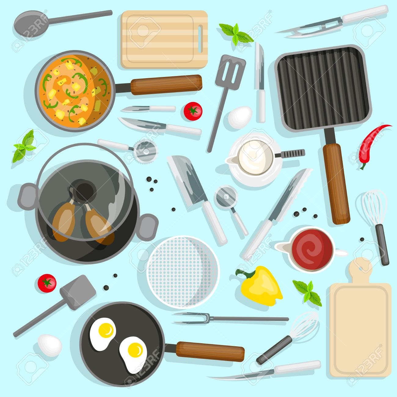 Cooking Top View Set. Chef Workplace Vector Illustration. Kitchen Utensils Cartoon Symbols. Kitchen Devices Design Set. Kitchen And Cooking Isolated Set. - 57229691