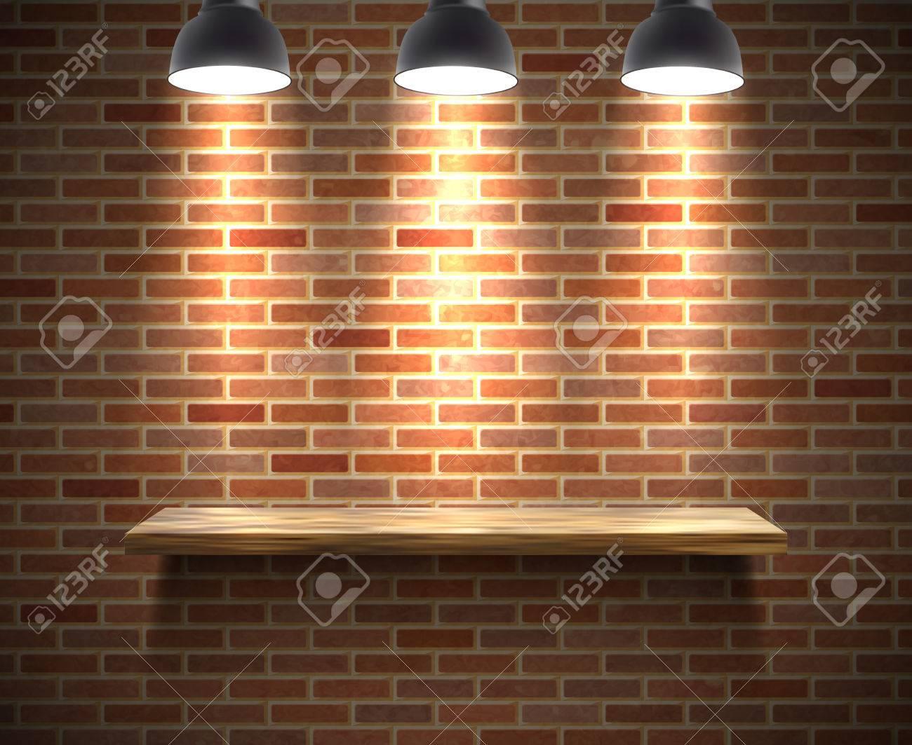Etagere Sur Mur En Brique réaliste bois étagère vide illustration sur un mur de briques sous les  projecteurs avec le vecteur d'ombre illustration