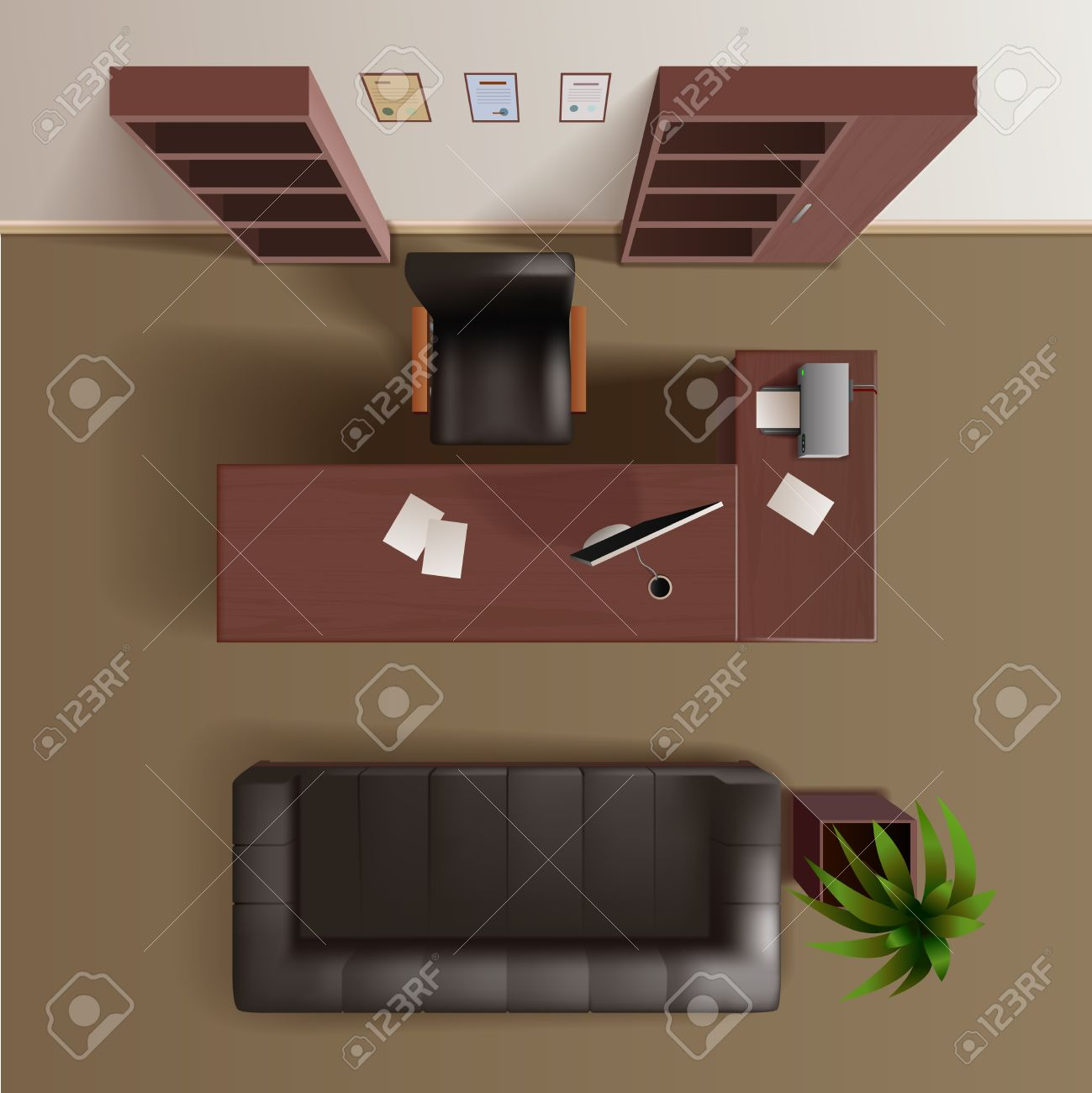 Office furniture top view - Office Work Room With Wooden Bookshelves Desk Computer Plant And Leather Sofa Top View Realistic Vector
