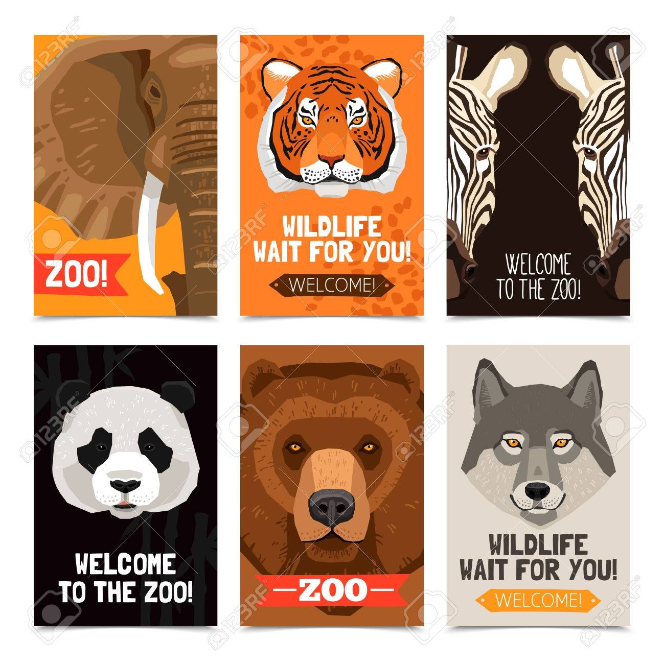 mini posters set with different wild animals heads on each poster