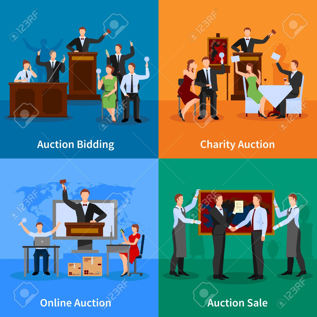 charity auction online bidding and sale to highest bidder 4 flat icons composition abstract isolated vector