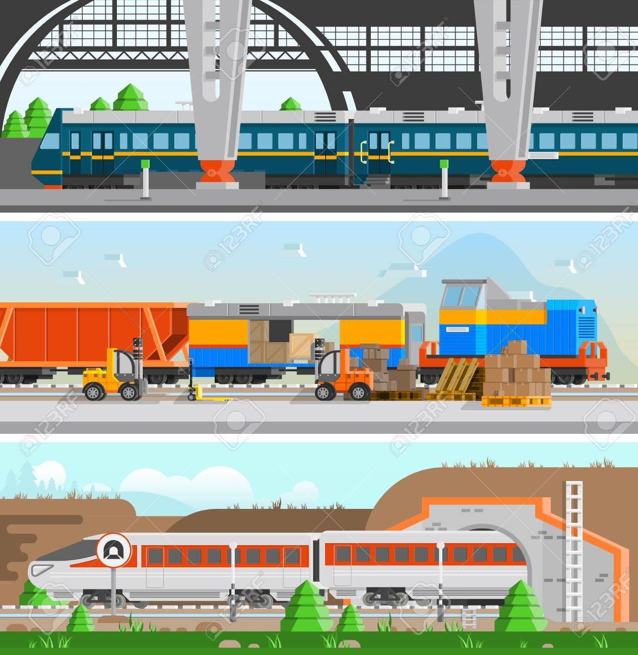 Rail transport horizontal flat banners with high speed passenger