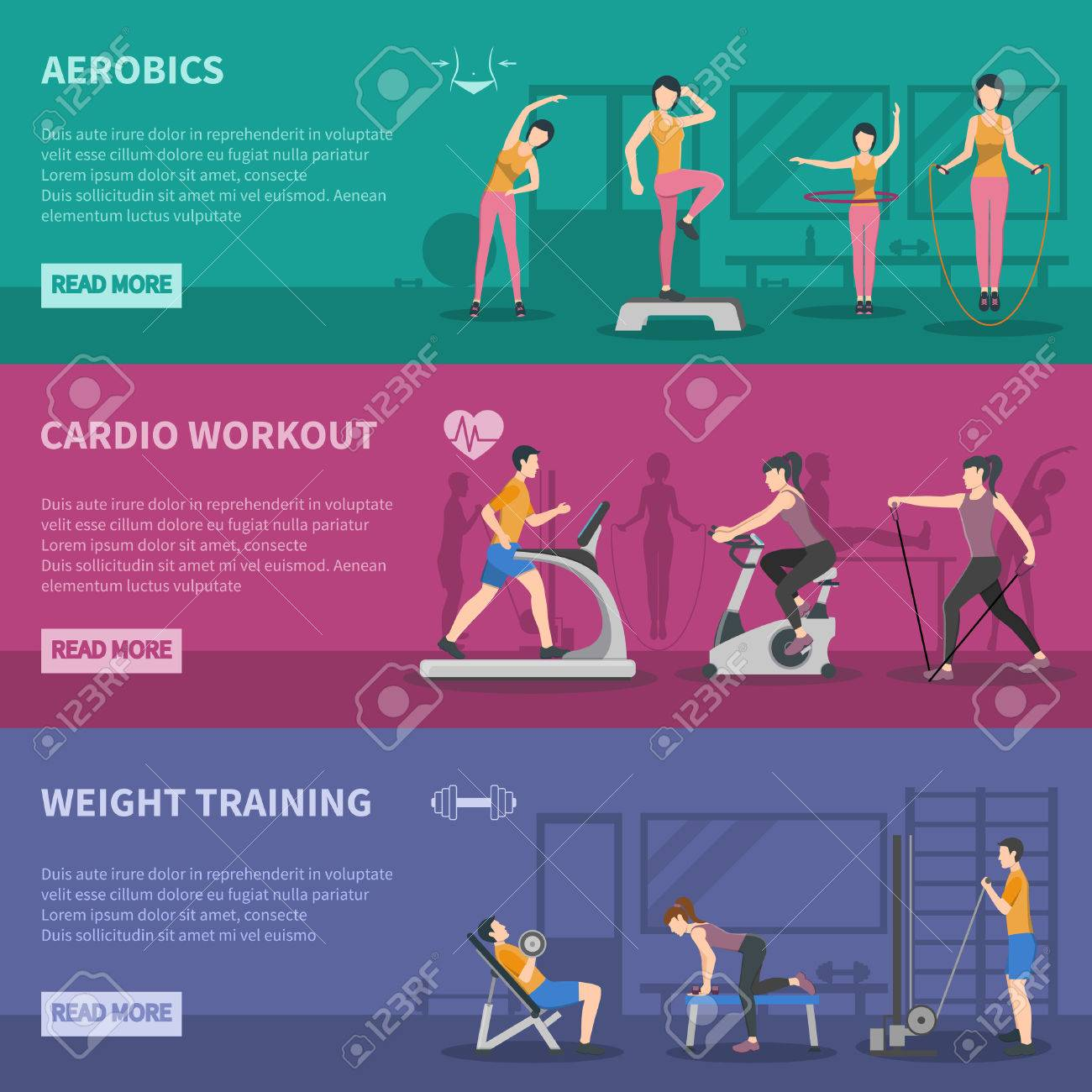 Different Kinds Of Fitness Gym Training Horizontal Banners With Cardio Aerobics And Weight Flat Vector