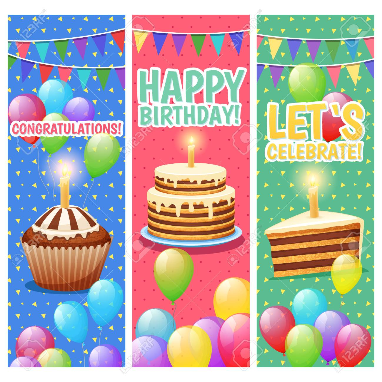 Congratulations And Celebrations Colorful Vertical Banners Set