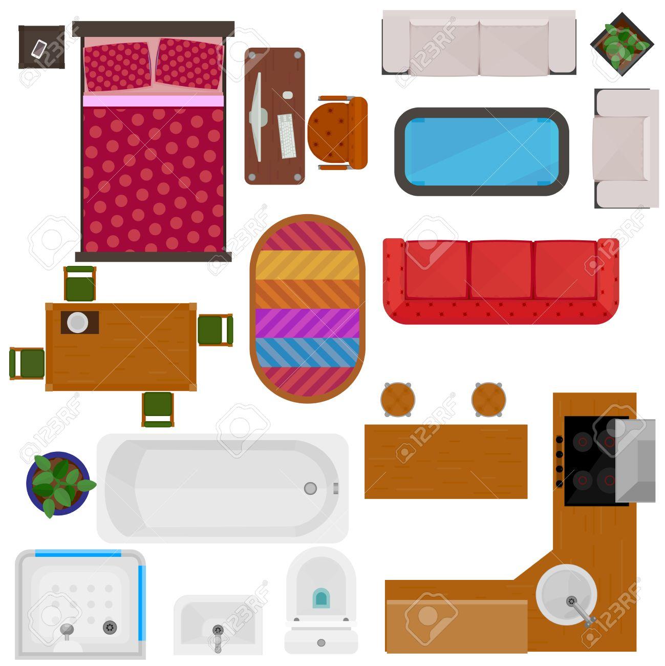 Vue De Dessus Meubles De Maison Icones Decoratives Avec Canape Lit Chaise Table De Bureau Set De Cuisine Salle De Bain Evier Articles Isole