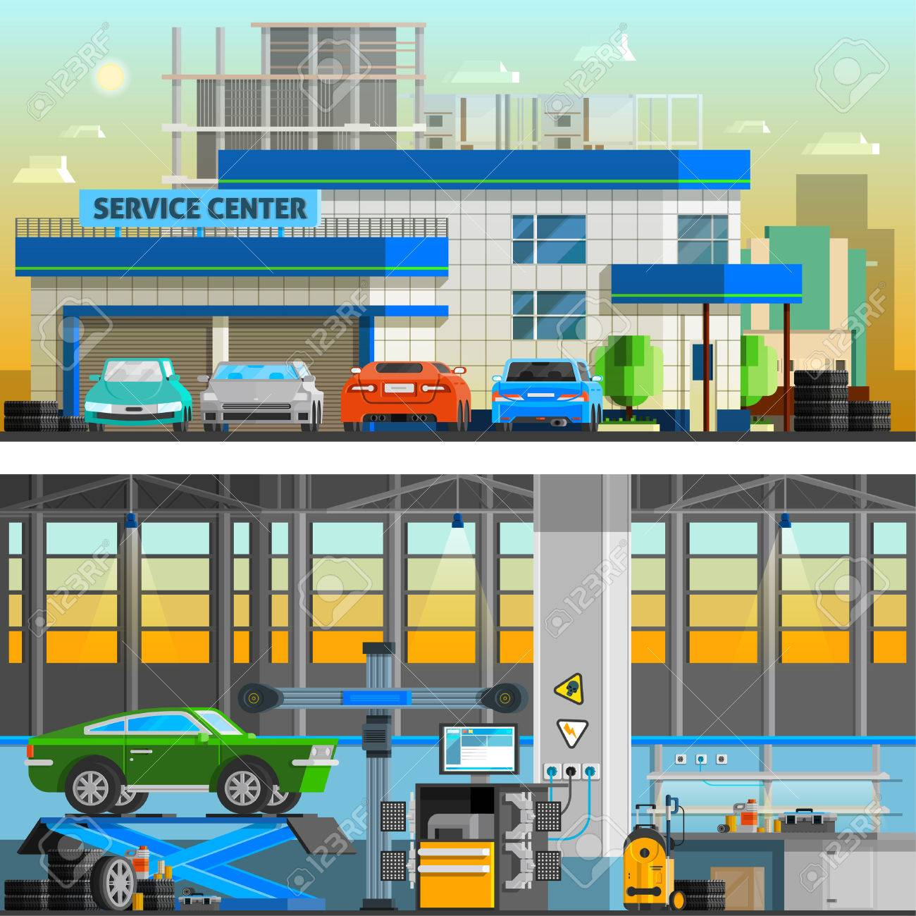 Auto Service Flat Horizontal Banners With Parking Near Service Royalty Free Cliparts Vectors And Stock Illustration Image 57720777
