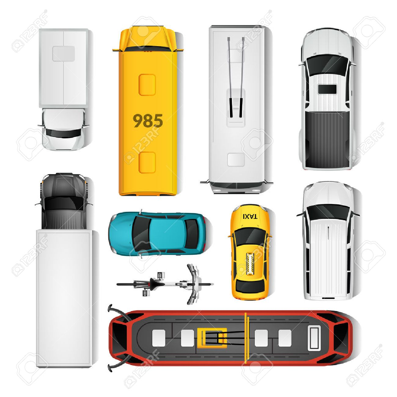 City Transport Top View Icons Set.City Transport Isolated Vector Illustration. City Vehicles Design Set. City Transport Cartoon Decorative Set. Stock Vector - 58476505