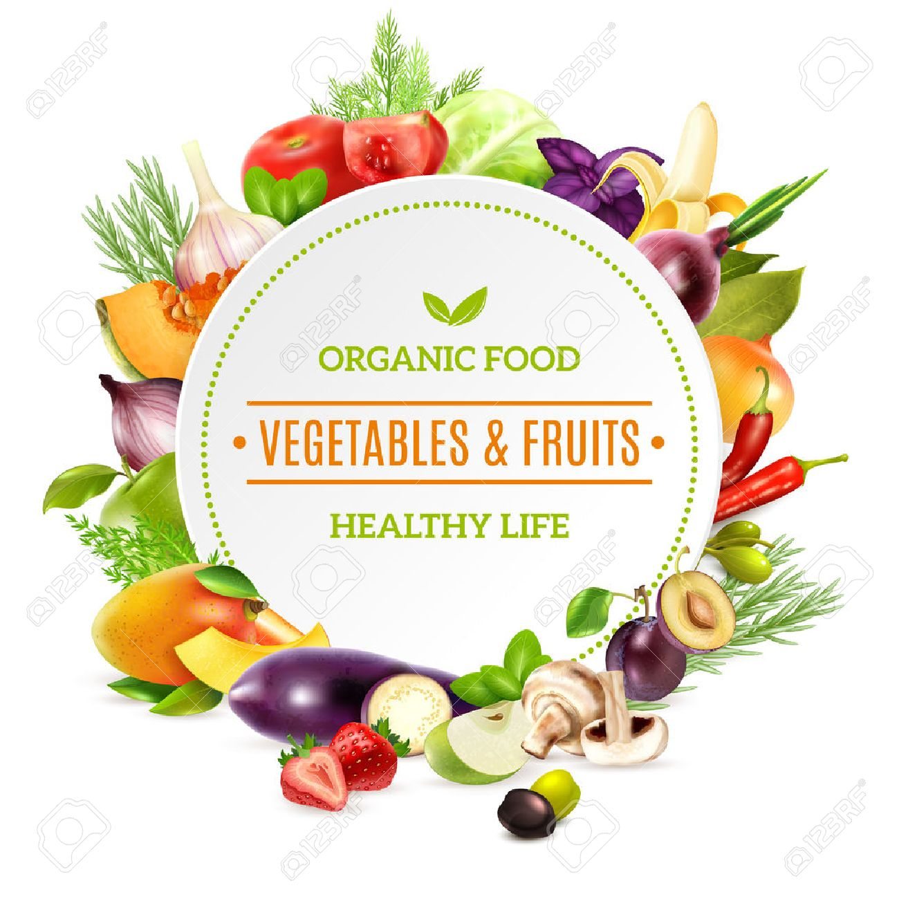Natural organic food background with colorful bright frame contained fresh vegetables and fruits set pictured in realistic style vector illustration - 58476723