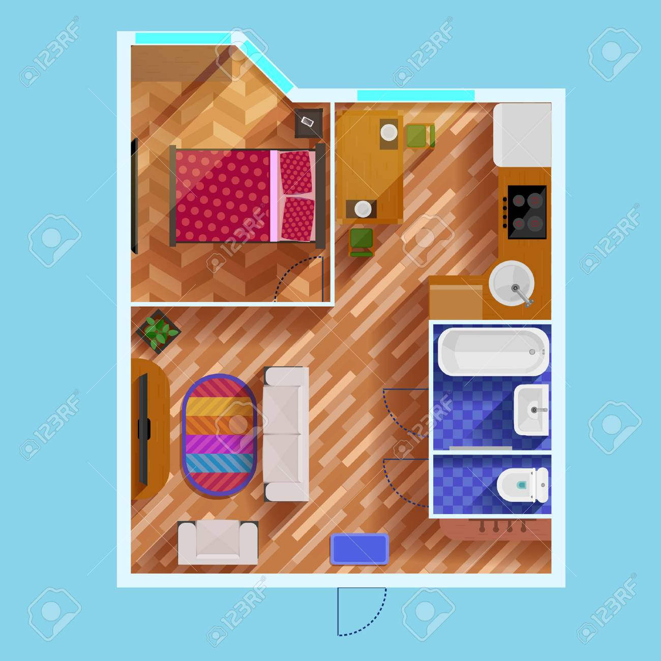 Colorful Floor Plan Of Apartment With One Bedroom Living Room