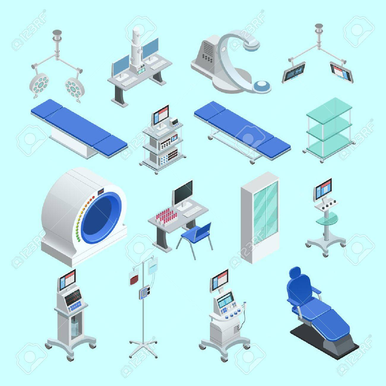 Modern medical surgery and examination rooms equipment with scanner monitor and operation table abstract isolated vector illustration - 58514900