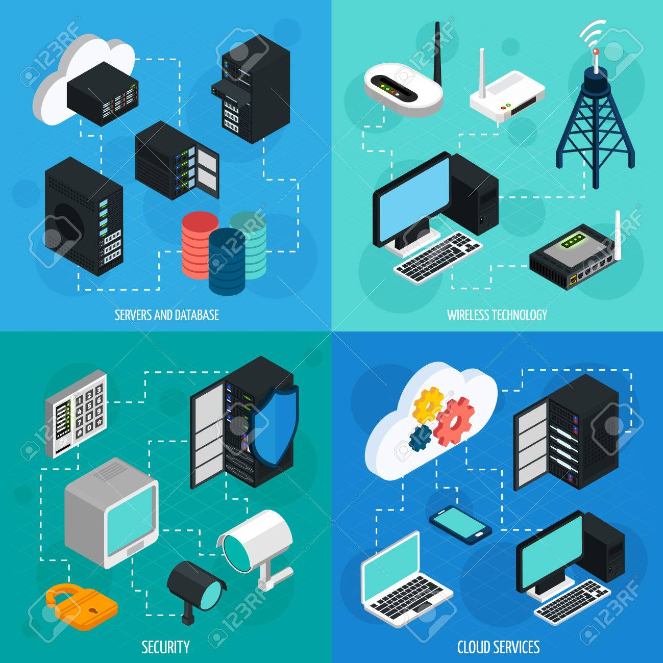 Data center 2x2 isometric icons set with database cloud services security and wireless technology isolated isometric vector illustration Stock Vector - 58514796
