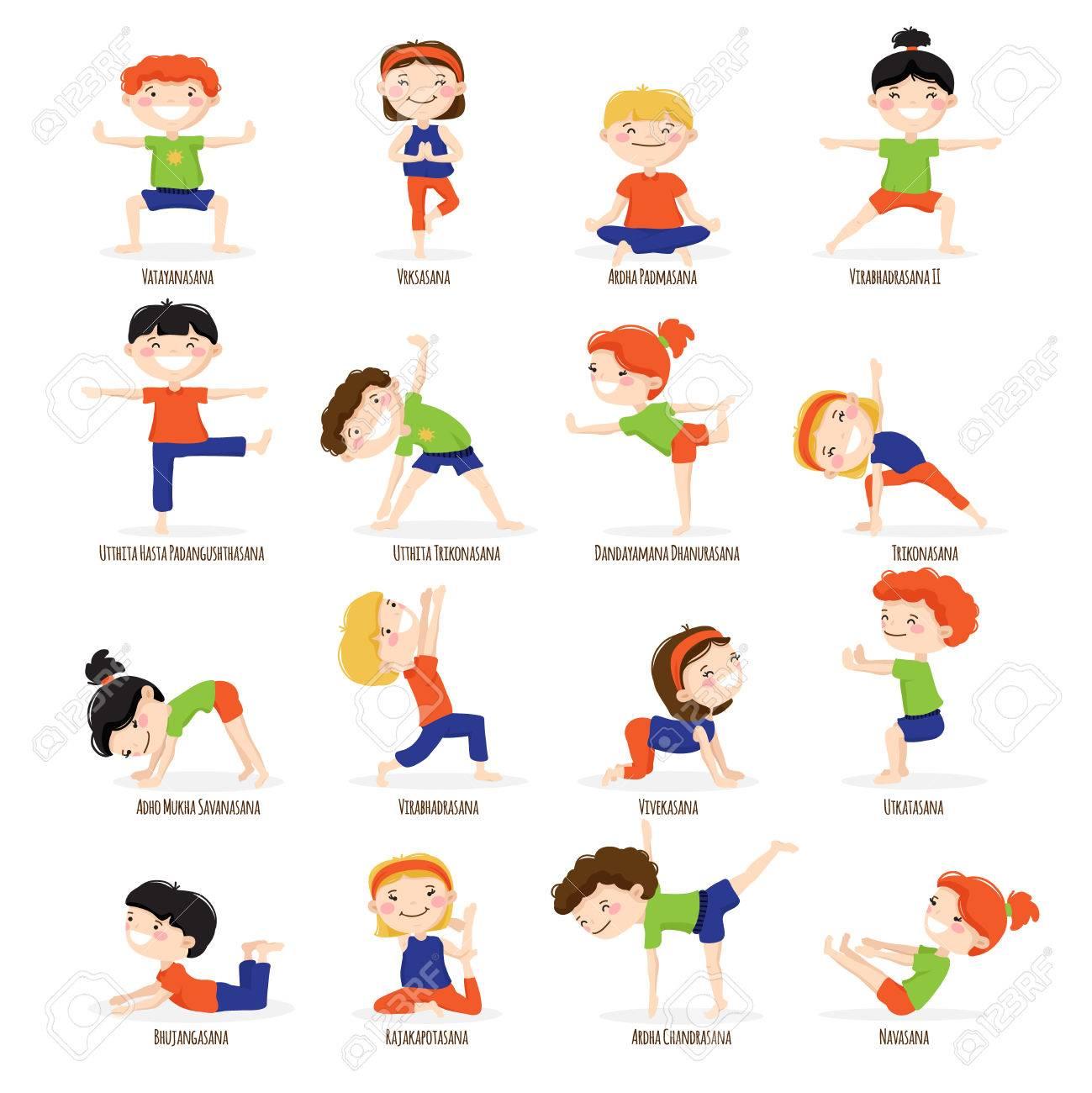 Foto de archivo - Los niños lindos niños y niñas en los mejores asanas de yoga  plantea ilustración vectorial aislado iconos de dibujos animados conjunto  de ... e29b46597cc2