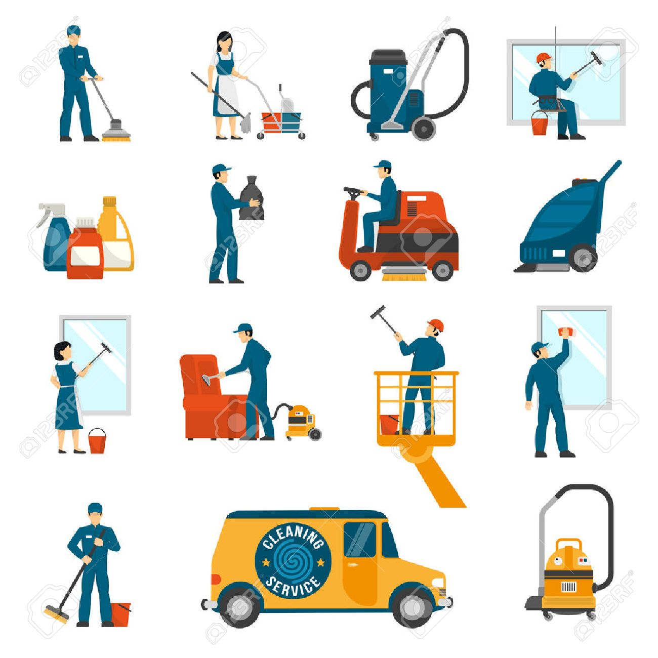 Industrial cleaning service workers flat icons collection with vacuum scrubber and sweeper machines abstract isolated vector illustration Stock Vector - 58513511