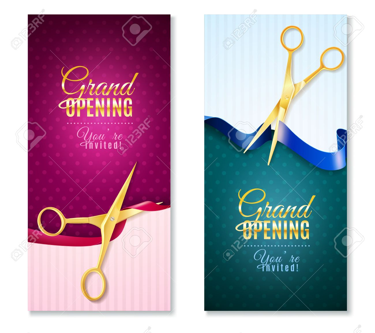 Grand opening invitation vertical banners set with ribbon grand opening invitation vertical banners set with ribbon realistic isolated vector illustration stock vector 58513524 stopboris Image collections