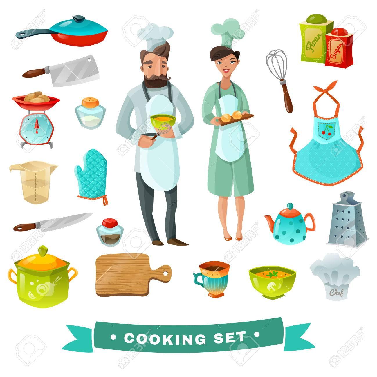 Kochen Cartoon-Set Mit Menschen Und Küchenutensilien Isoliert Vektor ...