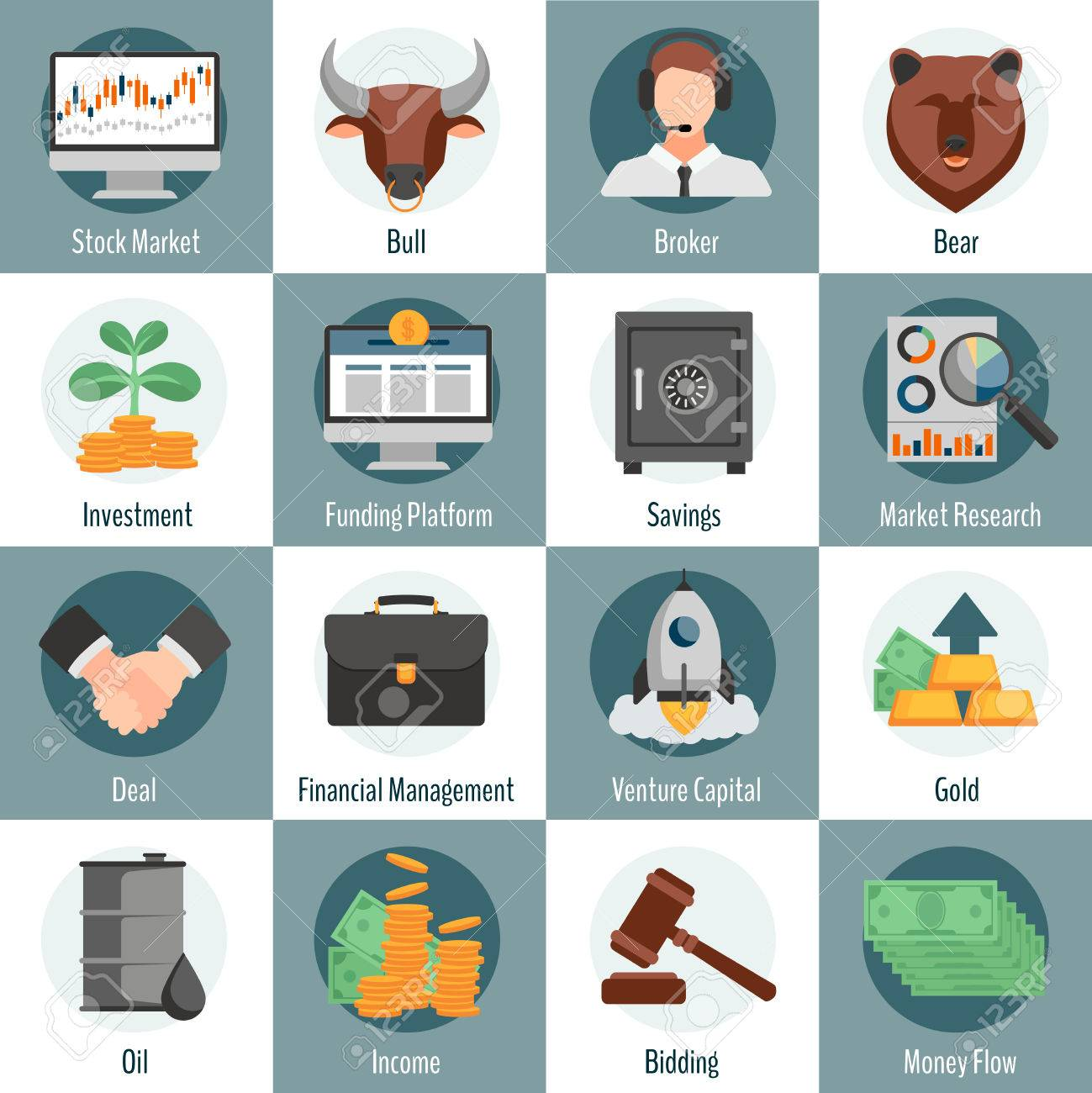Investment and trading flat icons set for web design with bull investment and trading flat icons set for web design with bull bear broker gold oil bidding buycottarizona Image collections