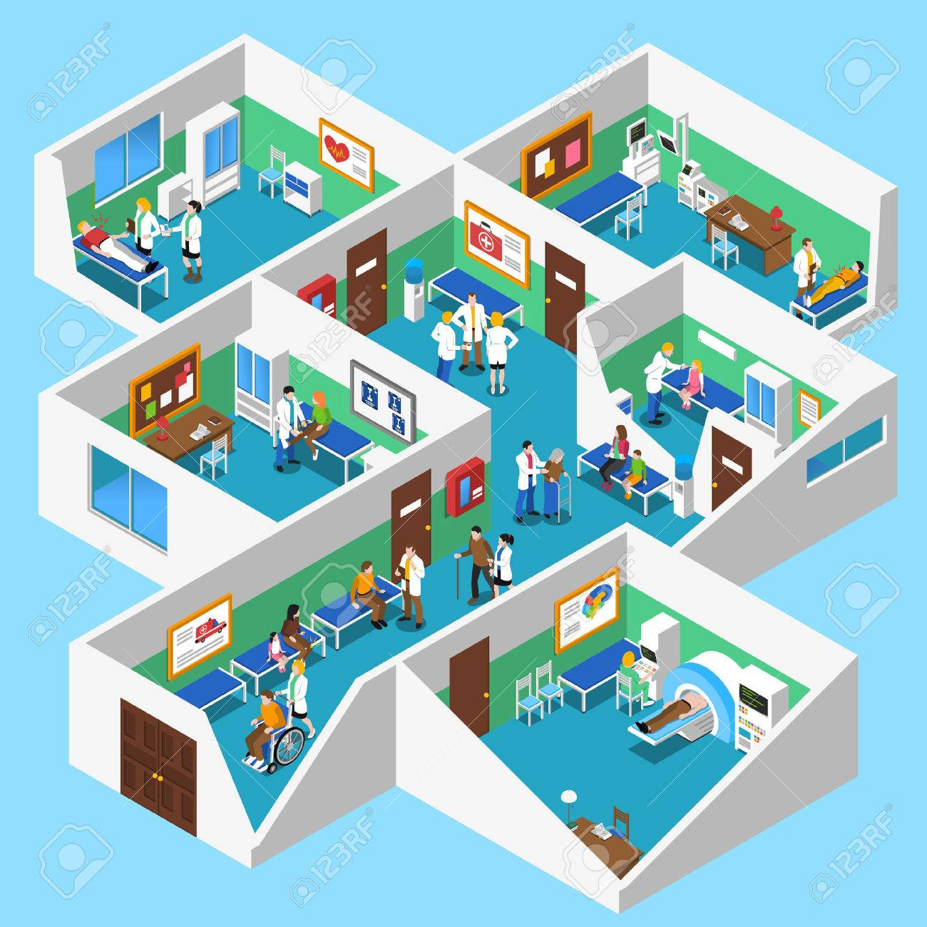 Hospital ground floor interior isometric design with mri facility patients nurses and doctor assistants abstract vector illustration - 58671017