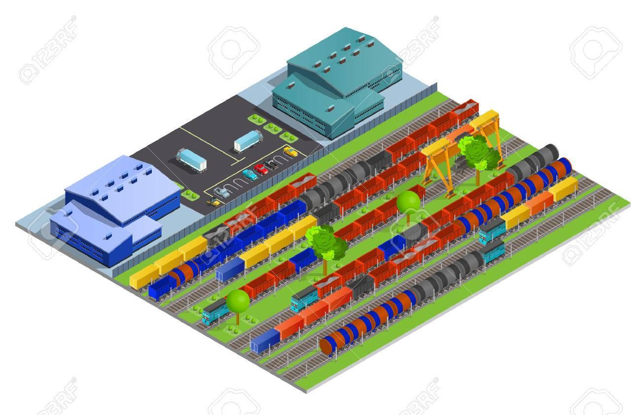 Amerikanischer Kühlschrank Flach : Eisenbahn güterbeförderung isometrischen design konzept mit