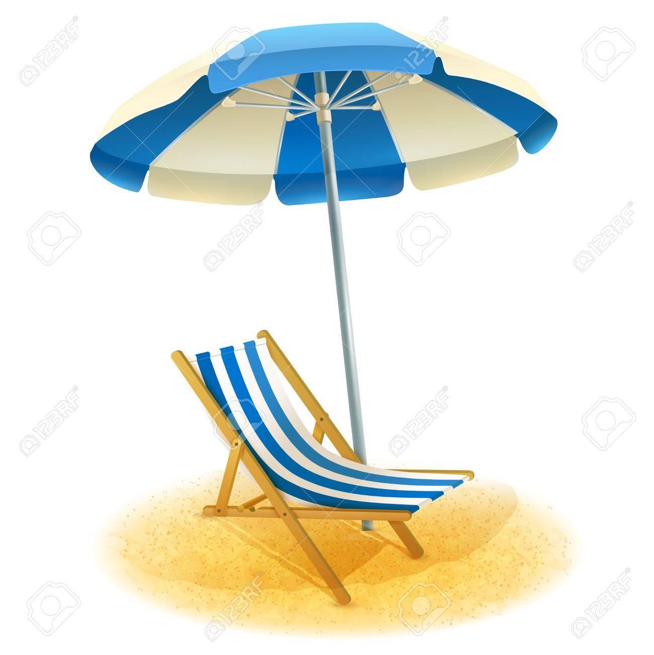 Dessin Parasol chaise longue avec un parasol et plage de sable dans le vecteur de
