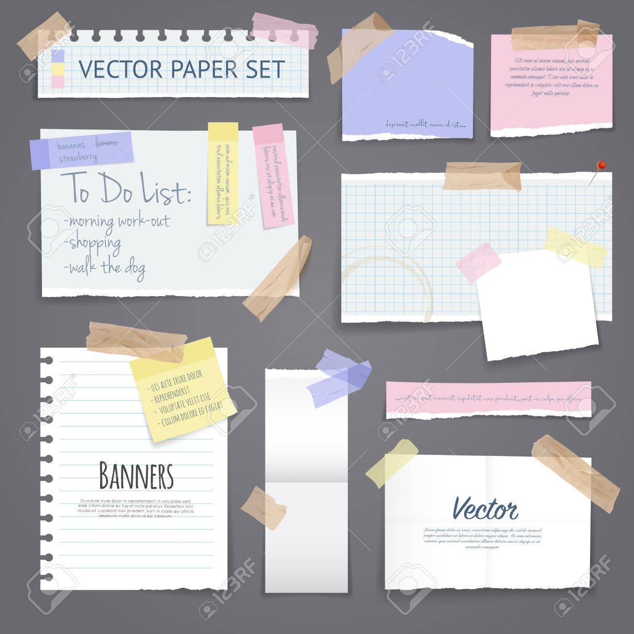 Paper banners with notes set attached with sticky colorful tape on grey background isolated realistic vector illustration Stock Vector - 58756464