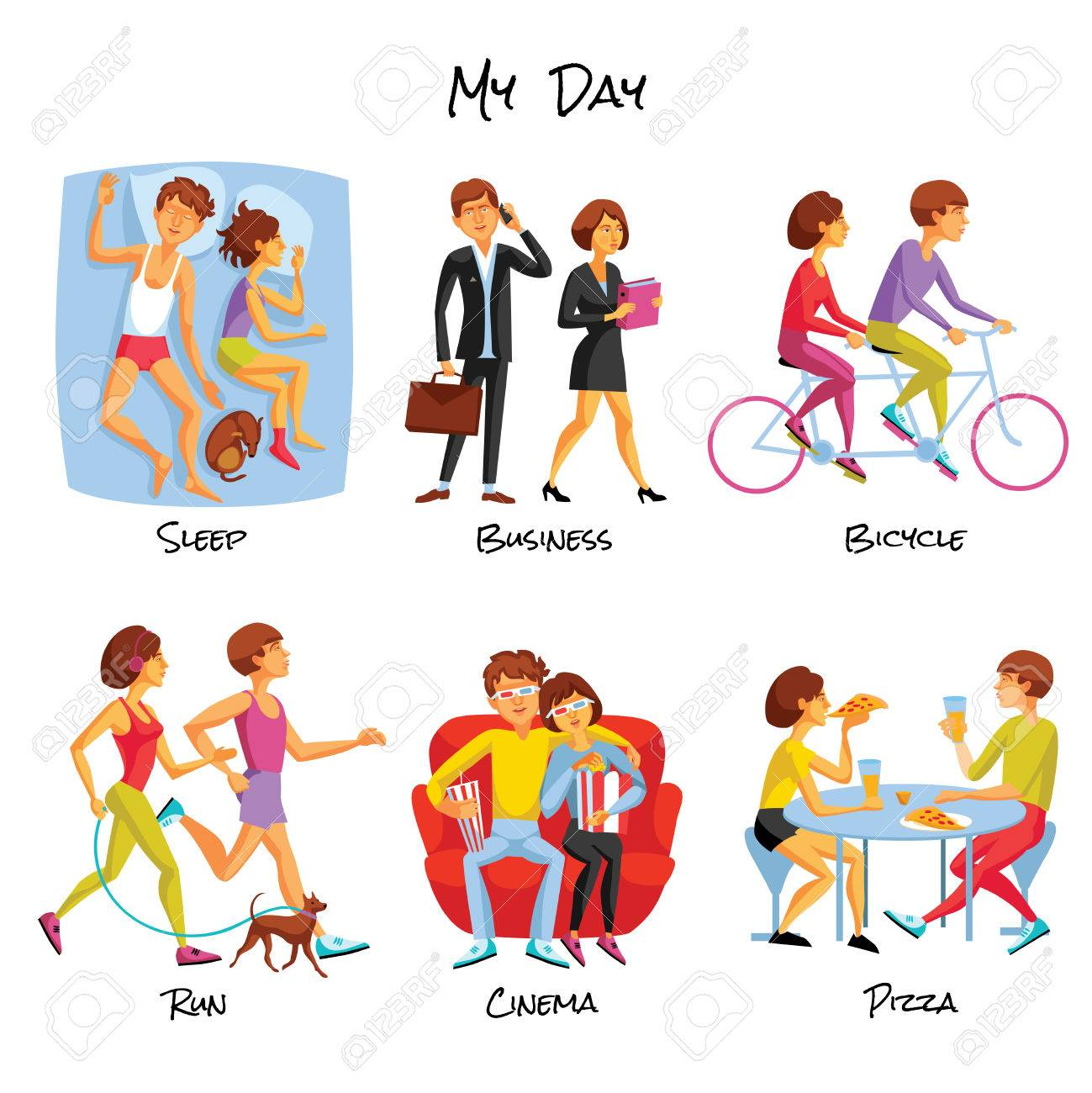 lifestyle icons set lifestyle vector illustration daily routine