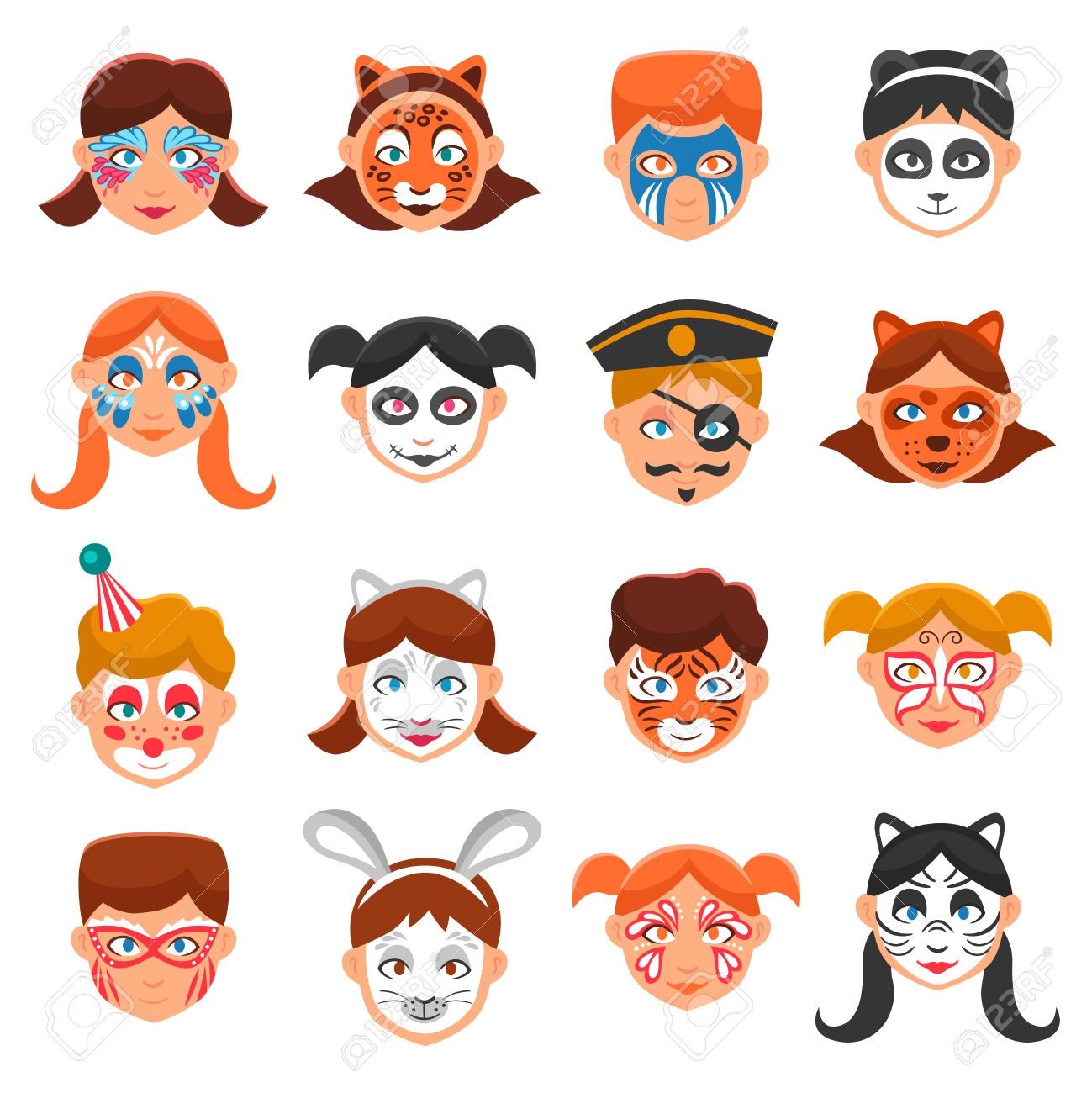 face paint for children icons set painted faces vector illustration greasepaint for kids flat - Pictures To Paint For Children