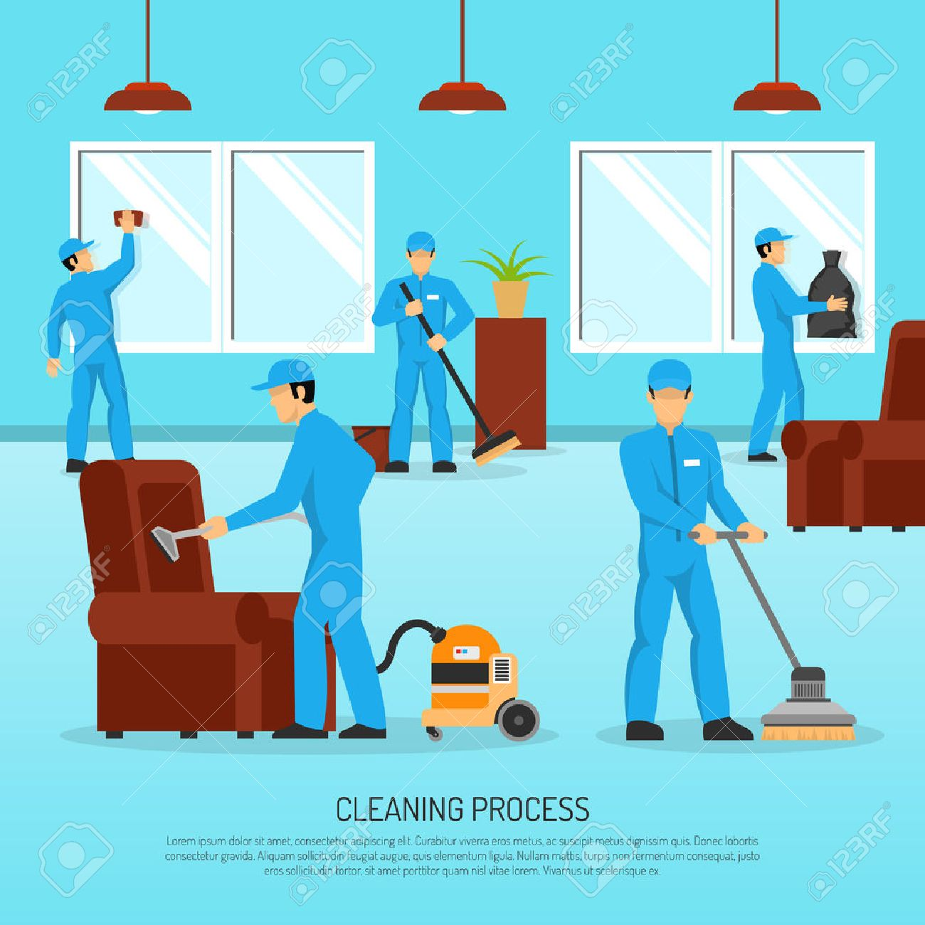 Industrial cleaning and maintain company service team at work in warehouse facility flat poster abstract vector illustration Stock Vector - 58962970